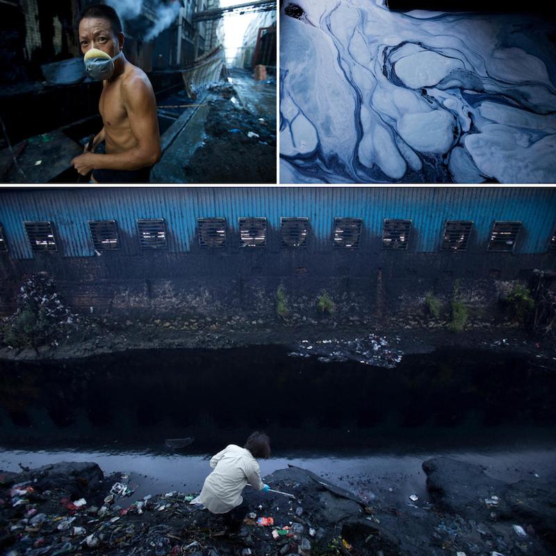 Denim factory worker